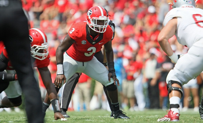 Georgia inside linebacker Roquan Smith (3) (Photo by Jim Hipple)